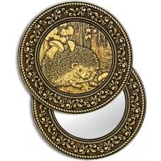 """Зеркало круглое """"Ежик"""" (береста, тиснение, дерево)"""