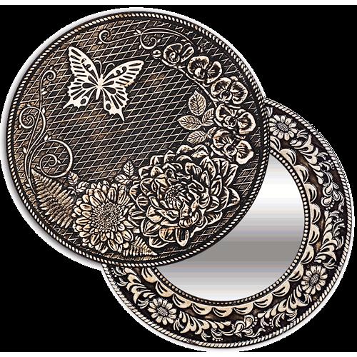 "Зеркало  круглое ""Бабочка"" (береста, тиснение, дерево) З-22526"