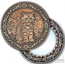 """Зеркало  круглое """"Котенок"""" (береста, тиснение, дерево)"""