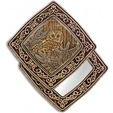 """Зеркало квадратное """"Сова"""" (береста, тиснение, дерево)"""