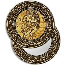 Зеркало круглое без ручки З-20860 Купидон (береста, тиснение, дерево)