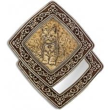 """Зеркало квадратное """"Котенок с бабочкой"""" (береста, тиснение, дерево)"""