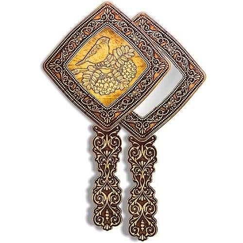 Зеркало квадратное с ручкой Снегирь на рябине (береста, тиснение, дерево)