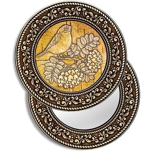 Зеркало круглое Снегирь на рябине (береста, тиснение, дерево)