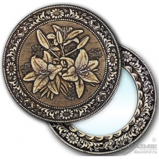 Зеркало круглое Лилии (береста, тиснение, дерево)