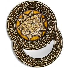 Зеркало круглое Герберы (береста, тиснение, дерево)