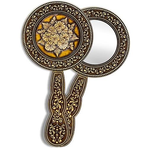 Зеркало круглое с ручкой Герберы (береста, тиснение, дерево)