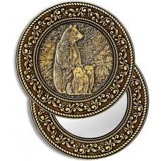 Зеркало круглое Медведица с медвежатами (береста, тиснение, дерево)
