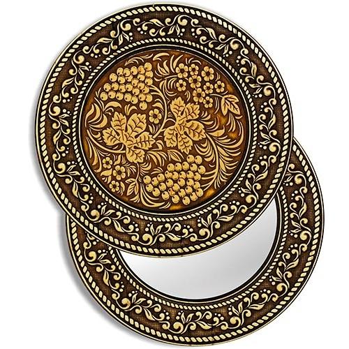 Зеркало круглое Хохлома (береста, тиснение, дерево)