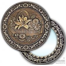 """Зеркало  круглое """"Корзинка с цветами"""" (береста, тиснение, дерево)"""