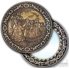 """Зеркало круглое """"Хоровод"""" (береста, тиснение, дерево)"""
