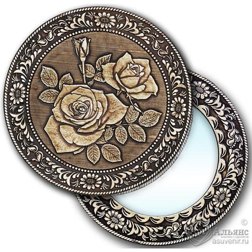 """Зеркало круглое """"Розы"""" (береста, тиснение, дерево)"""