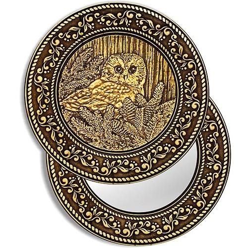 """Зеркало круглое """"Сова"""" (береста, тиснение, дерево)"""