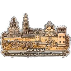 Магнит из бересты вырезной Москва Новодевичий монастырь Панорама серебро