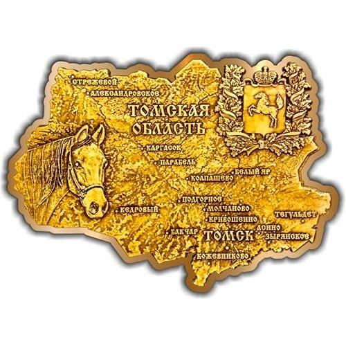 Магнит из бересты вырезной Томская область карта золото