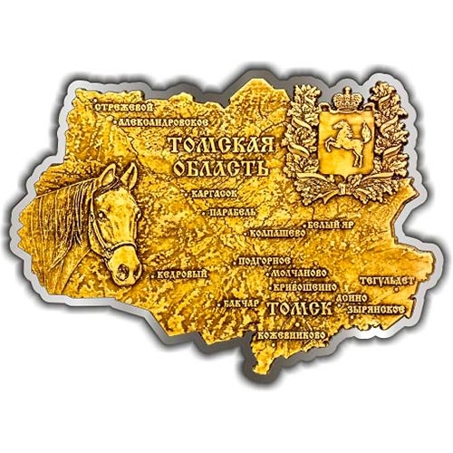 Магнит из бересты вырезной Томская область карта серебро