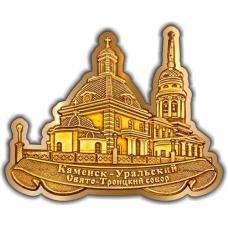Магнит из бересты вырезной Каменск-Уральский Свято-Троицкий собор золото