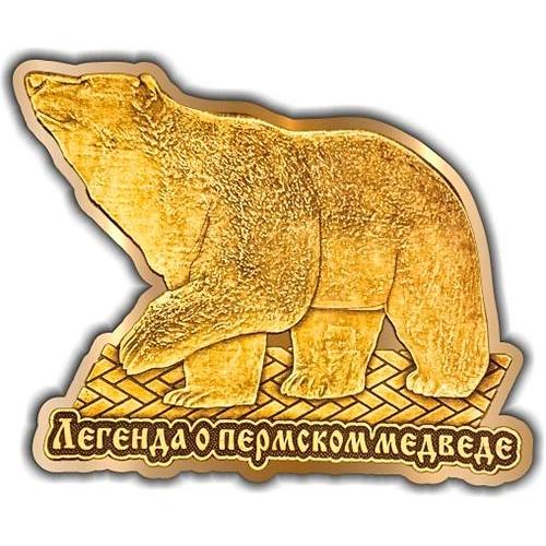 Магнит вырезной Пермь Легенда о медведе золото
