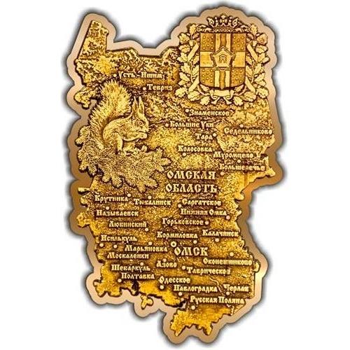 Магнит из бересты вырезной Омская область карта золото