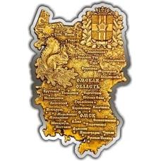 Магнит из бересты вырезной Омская область карта серебро