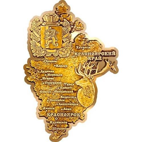 Магнит из бересты вырезной Красноярский край карта золото