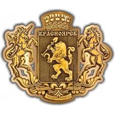Магнит из бересты вырезной Красноярск Герб золото