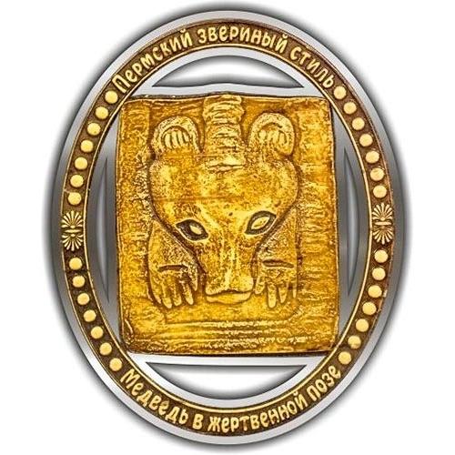 Магнит вырезной Пермский звериный стиль серебро