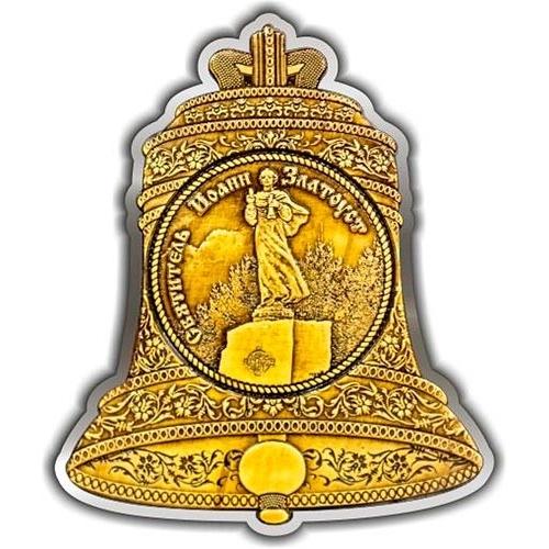 Магнит из бересты вырезной Златоуст Колокол Иоанн Златоуст серебро