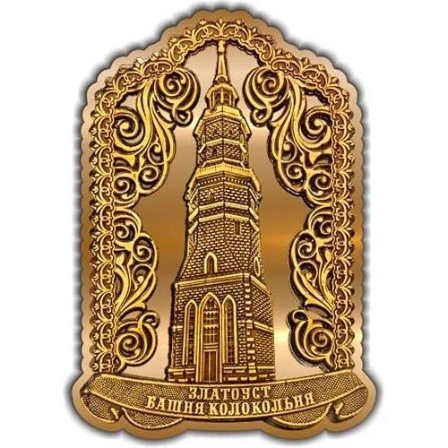 Магнит из бересты вырезной Златоуст Башня Колокольня золото