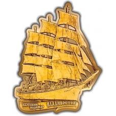 Магнит из бересты вырезной Владивосток Парусник Надежда золото