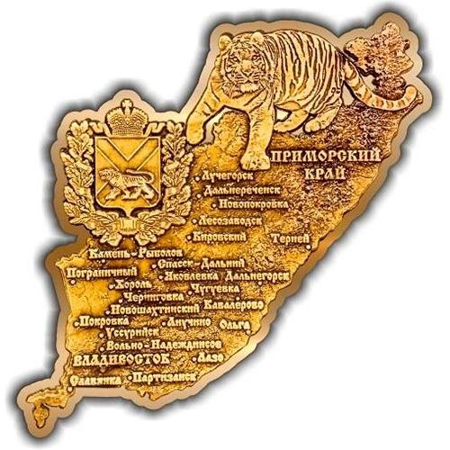 Магнит из бересты вырезной Приморский край карта золото
