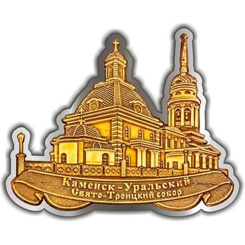 Магнит из бересты вырезной Каменск-Уральский Свято-Троицкий собор серебро