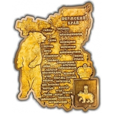 Магнит вырезной Пермский край карта золото