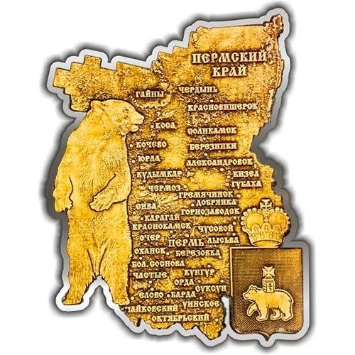 Магнит вырезной Пермский край карта серебро