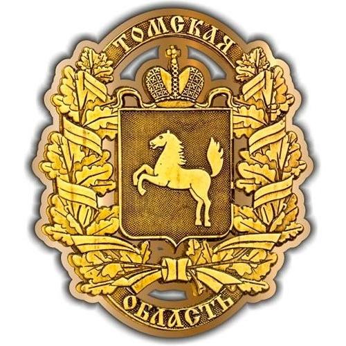Магнит из бересты вырезной Томская область Полный Герб золото