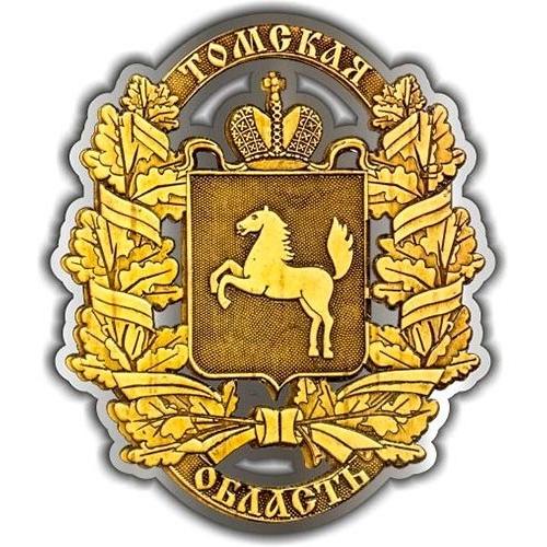 Магнит из бересты вырезной Томская область Полный Герб серебро