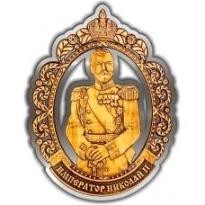 Магнит из бересты вырезной Ганина Яма Император Николай II серебро