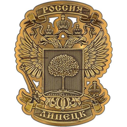 Магнит из бересты вырезной Липецк Герб золото