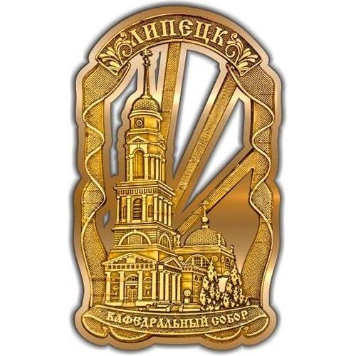 Магнит из бересты вырезной Липецк Кафедральный собор Лента золото