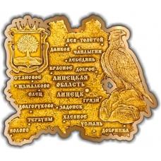 Магнит из бересты вырезной Липецк Липецкая область карта золото