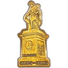 Магнит из бересты вырезной Ульяновск Памятник Карамзину золото