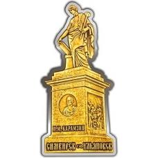 Магнит из бересты вырезной Ульяновск Памятник Карамзину серебро