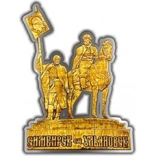 Магнит из бересты вырезной Ульяновск Памятник Хитрову серебро