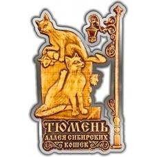 Магнит из бересты вырезной Тюмень Аллея Сибирских кошек серебро
