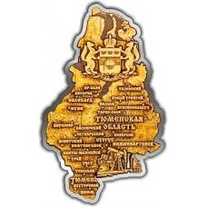 Магнит из бересты вырезной Тюменская область карта серебро