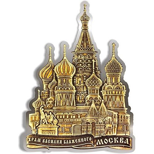 Магнит из бересты вырезной Москва Храм Василия Блаженного серебро