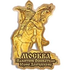 Магнит из бересты вырезной Москва Памятник Юрию Долгорукому золото
