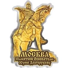 Магнит из бересты вырезной Москва Памятник Юрию Долгорукому серебро