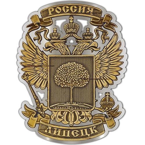Магнит из бересты вырезной Липецк Герб серебро