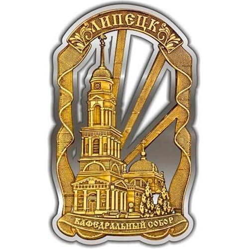 Магнит из бересты вырезной Липецк Кафедральный собор Лента серебро